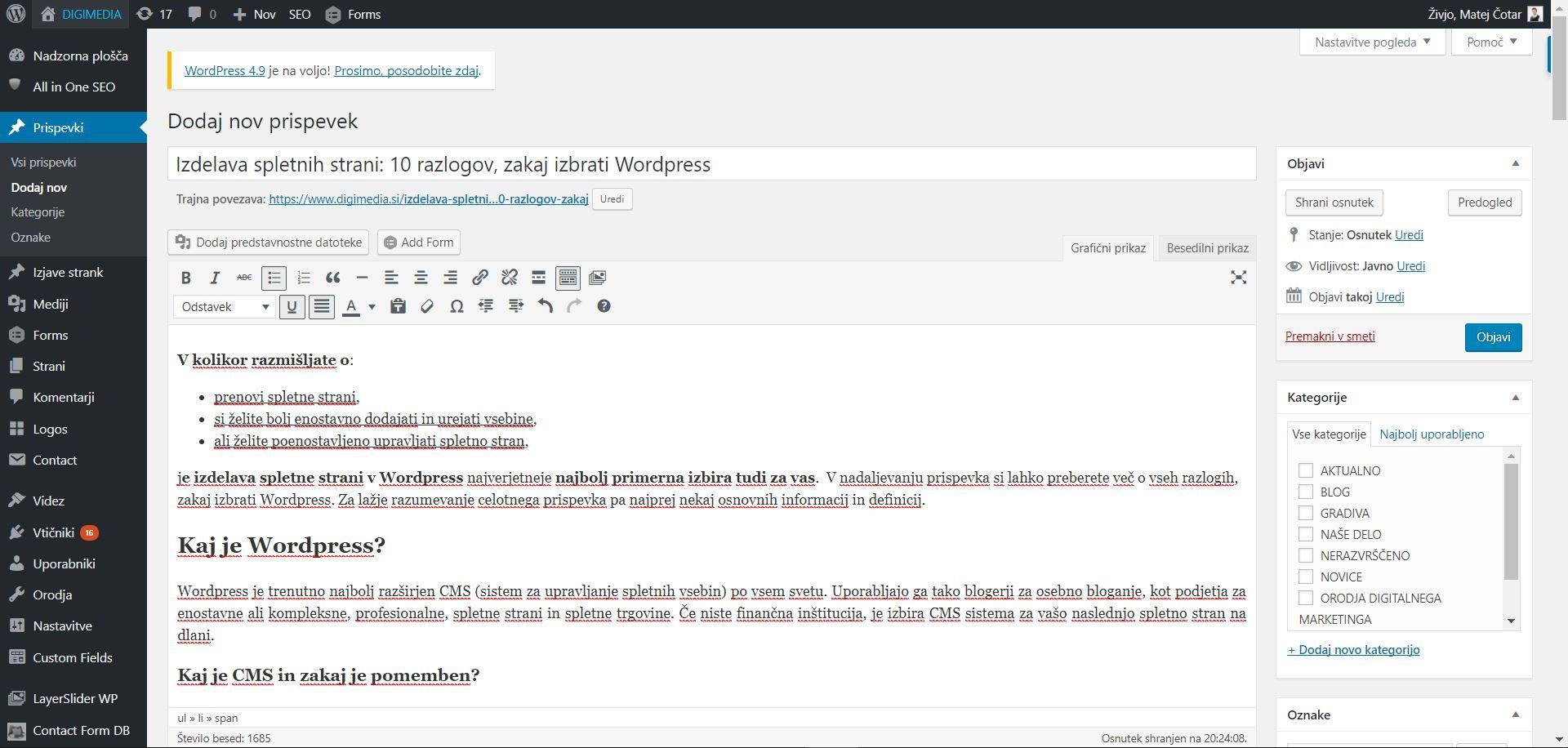 Izdelava in urejanje spletnih strani v WordPress